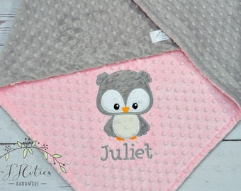 Owl Personalized Baby Blanket-Owl baby blanket-Personalized Owl Minky blanket-Minky Owl Blanket-Minky baby blanket-Baby Girl minky blanket