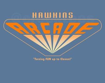 Hawkins Arcade - Stranger Things LADIES Slim FIT T-Shirt -  1990's Sci-Fi Horror Parody Clothing