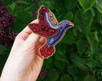 Hummingbird brooch Blue brooch Red brooch Purple brooch Brooch bird Bead brooch Beaded brooch bird Ummingbird Birthday present Gift for her