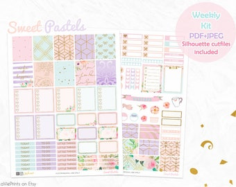 Planner stickers printable, Floral pastel stickers, Glam planner, Glitter stickers, floral, Use with Erin Condren, cut files, planner kit
