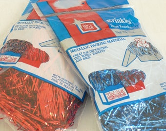 Vintage Brite Star Krinkles Red and Blue Shredded Metallic Packing Material, Gift Box Bag Basket Filler, Packing Material, Vintage Christmas