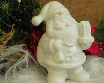 Vintage White Ceramic Santa Claus Figurine Made in Brazil, Christmas Holiday Decor, Santa Claus, Father Christmas, White Christmas Accessory