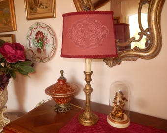 living room wooden foot lamp anciende style with Burgundy shade adorned with a lace Medallion