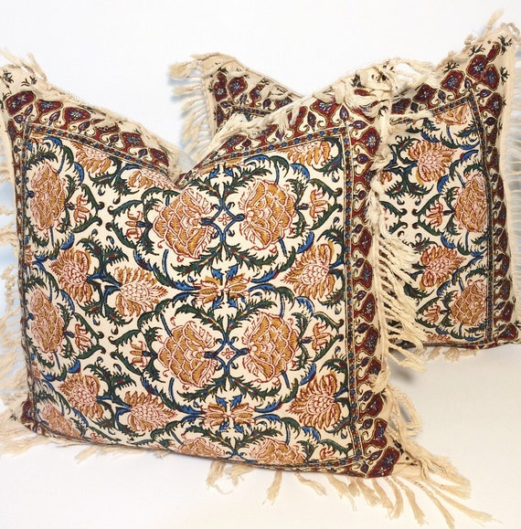 """Set of two block printed tapestry pillows , Handprinted red flowers cushions , natural cotton pillow , 16"""" traditional decorative pillows"""