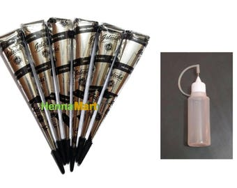 6 Black Henna  Tattoo Cones + Applicator Bottle Temporary Body Art Design Kit Herbal Henna Ink