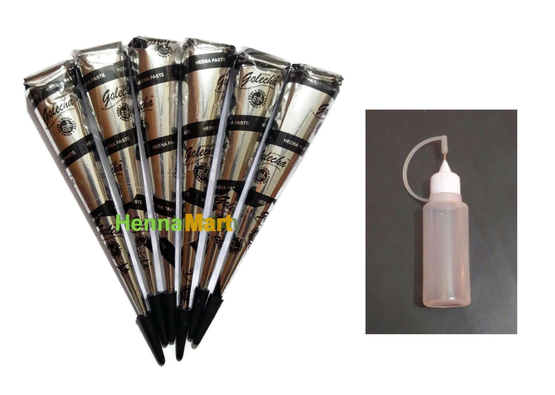 6 Black Henna Tattoo Cones Applicator Bottle Temporary Body