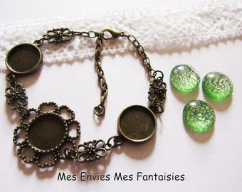 1 kit Bracelet 3 cabochons 14mm bronze cabochon green murano KIT544 supports