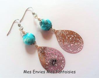 Boheme Bleu Jade and silver print drop earrings