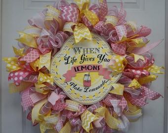 Lemonade Wreath, Spring Mesh Wreath, Summer Wreath, Summer Mesh Wreath, Pink Mesh Wreath