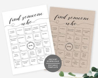 Wedding Reception Game, Wedding Bingo, Find someone who game, Wedding guest game, Instant Download, Editable PDF printable game, GD_WG107