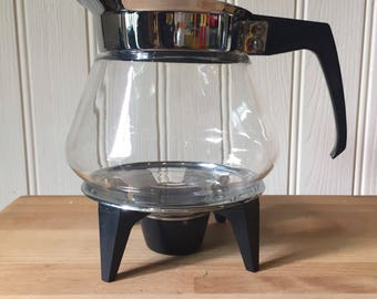 JAJ Pyrex 1970s glass coffee percolator with candle and stand. Not used