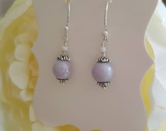 Handmade pretty soft purple lilac pearlescent earrings made with Sterling silver
