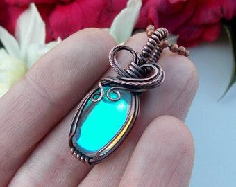 aura quartz pendant, wire wrapped jewelry, handmade jewelry, wire wrap, wire weave, copper wrap, boho jewelry, Melissa Wood Jewelry, artisan