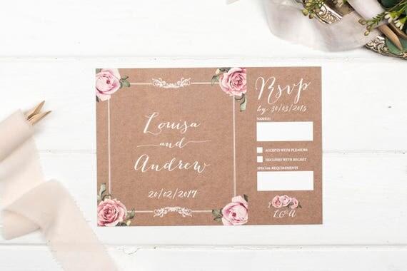 Vintage Wedding Invitation - A5 Kraft Floral-Framed