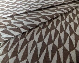 3m Hand Block Printed Cream/Brown-green ochre Cotton Fabric