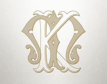 Digital Wedding Monogram - KM MK - Wedding Monogram - Vintage
