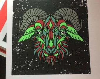 Green/Red Goat screen prints