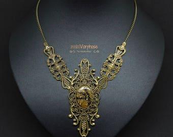 "Unique Necklace ""Fire Flower"", Black Gold Bronze, Steampunk, Burlesque Collar, Victorian, Goth Necklace, Brass Metal, Ornaments, Statement"