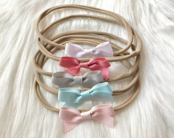 Baby Headband Set, Baby Headbands, Small Bows, Baby Bows, Newborn Headbands, Nylon Headbands, Itty Bitty Bows, Baby Hair Bows, Bow Headband
