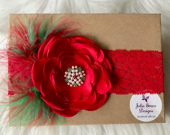 Red Lace Headband, Red Headband, Red Baby Headband, Christmas Headband, Baby Headband, Baby Girl Headband, Infant Headband, Headband, Baby