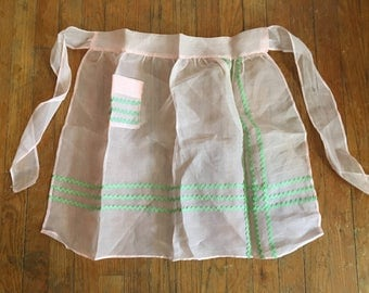 Vintage Sheer Dainty Midcentury Pink and Green with Rick Rack Apron