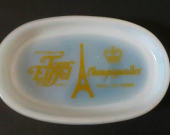Vintage Midcentury Paris France Tour Eiffel Champigneulles Restaraunt Dish