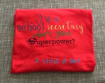 School secretary embroidered shirt