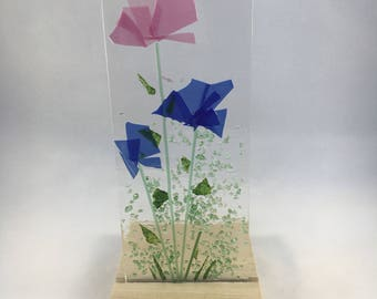 Floral Glass Plaque, Candle Display,  Pink and Blue Flowers,  Fused Glass, Home Decor, Gift for her, Birthday Gift, Birthday Present
