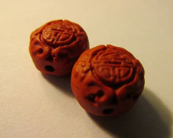 """Chinese Red Cinnabar Coin Shape Beads with Chinese """"Shou"""" Motif, 13mm, Set of 2"""