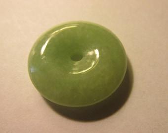 """Grayish-Green Chinese Jade Donut """"Pi"""" Pendant, 1 1/8"""""""