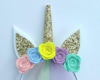 SALE...Unicorn headband... Birthday unicorn headband...unicorn horn...Birthday party favors...felt unicorn headband