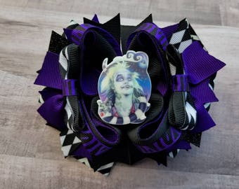 Beetle juice, Halloween Hair bow, purple Halloween Hair Bow, Boutique Hair bow, Halloween Hair Clip