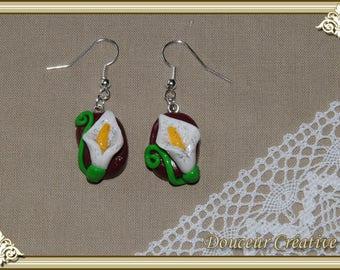 Burgundy flower 104003 earrings
