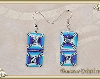 Earrings blue turquoise violet white grey silver rectangular 104081