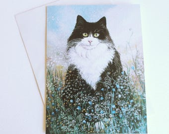 Greeting card with image of a black and white cat in a fantasy garden