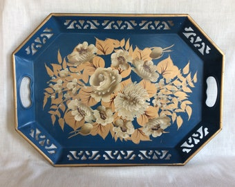 Beautiful early mid century metal tray hand painted floral design