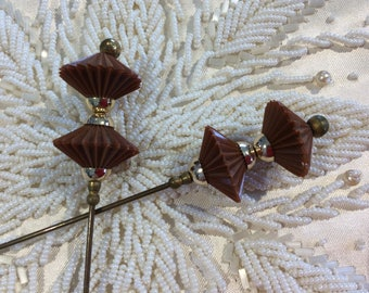 Pair vintage oriental style hat pin umbrella or parasol shape