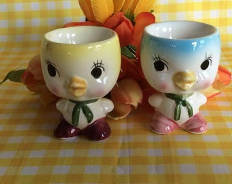 Vintage PAIR egg cups chicks chicken Japan Giftcraft novelty