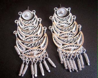 Vintage Silver 950 Filigree Earrings-Triple Chandelier Silver Earrings-Silver 950 for Sensitive Skin-Made in Peru