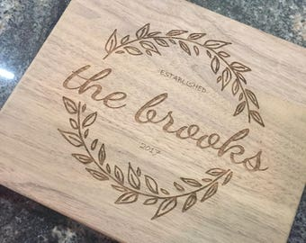 "Personalized Cutting Board, Last Name & Established Year Date 8""x7"" Walnut Cutting Board, Wedding Anniversary Gift"