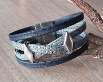 Vegan leather strap in blue Cork