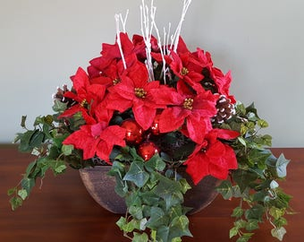 Poinsettia Arrangement, Christmas Arrangement, Christmas Centerpiece, Holiday Arrangement, Holiday Arrangement with Poinsettias
