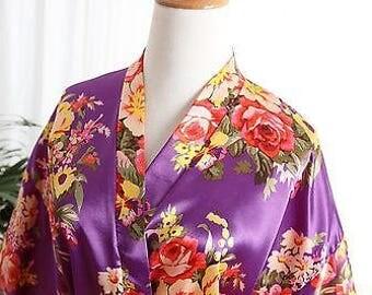 Purple  Bridal satin robe
