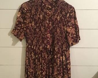 Vintage Runched Floral Button-Up Dress Women's S/M