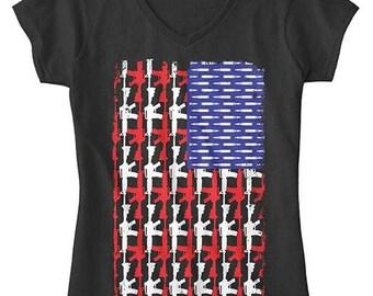 Guns & Bullets USA Flag Shirt 2nd Amendment American V-Neck