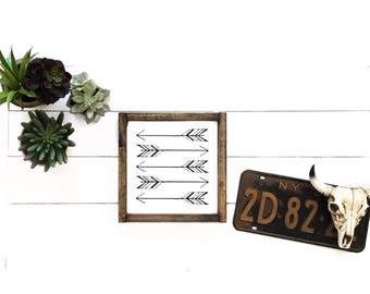 Wood sign, boho sign, boho decor, arrows