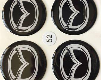 "ON SALE! 4pcs. set-sizes- 52mm.,55mm.,58mm.,60mm.,65mm.,68mm.""Mazda"" black Centre wheel stickers,emblems,badges"