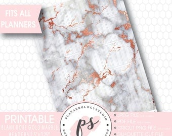 Rose Gold Marble Pattern Blank Header Printable Planner Stickers | JPG/PDF/Silhouette Cut Files