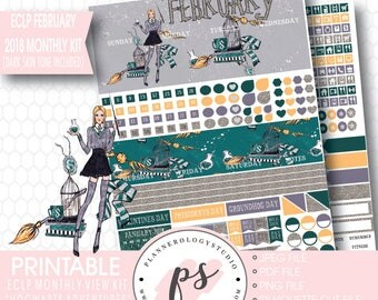 Hogwarts Adventures February 2018 Monthly View Kit Printable Planner Stickers (Dark & Light Skin Tone) (for ECLP) |JPG/PDF/Cut File