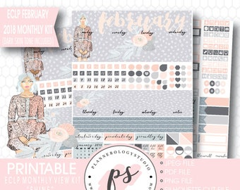 Shine February 2018 Monthly View Kit Printable Planner Stickers (Dark & Light Skintone) (for Erin Condren ECLP) |JPG/PDF/Silhouette Cut File